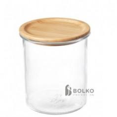 Üvegedény bambusz tetővel