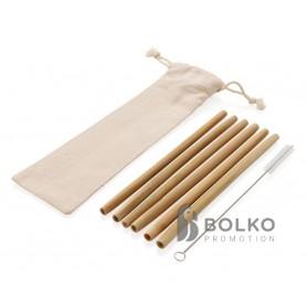 Hat darabos bambusz szívószál szett