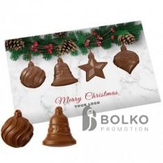 Üdvözlőkártya karácsonyfadísz formájú csokoládéval