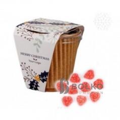 Szív alakú zselé cukorka papír dobozban, kicsi méretben