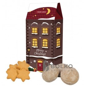 Karácsonyi házikó mézeskaláccsal, vagy gyömbéres csillagokkal