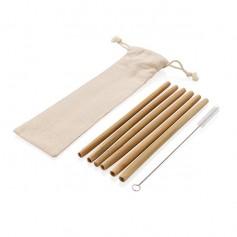 Többször használatos szívószál szett ECO bambuszból