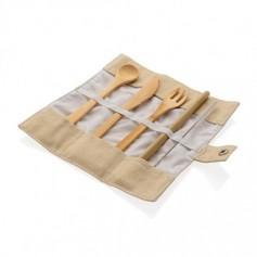 Többször használatos bambusz evőeszköz készlet