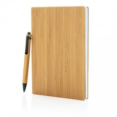 A5-ös méretű bambusz jegyzetfüzet és toll készlet