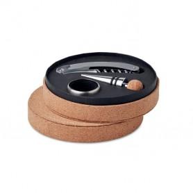 Boroskészlet kör alakú parafa dobozban