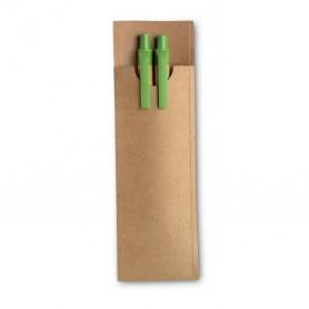 Ceruza és toll szett újrahasznosított papír tokban