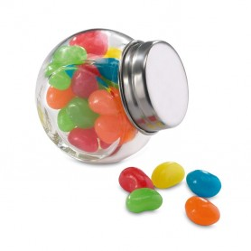 Sokszínű cukorka üvegben