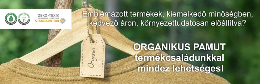 organikus pamut emblémázás